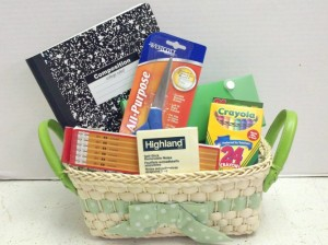 Age appropriate back to school basket