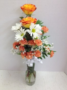 "<img src=""image.gif"" alt=""Colorful flowers with orange"" />"