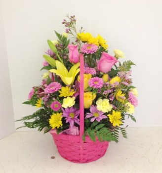 "<img src=""image.gif"" alt=""Pink colorful flowers in a basket"" />"