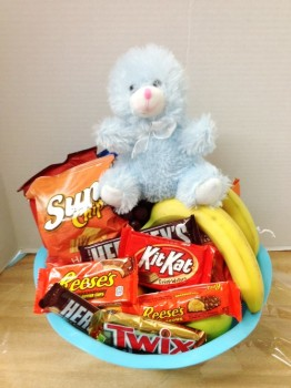 Baby boy basket with snacks