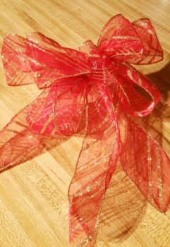 Red with Gold trim Christmas bow