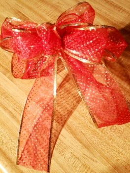 Red Bow with gold dots