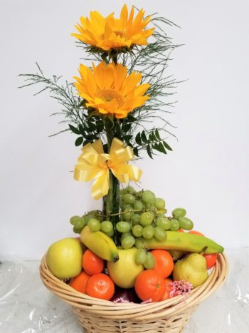Farmer's Market fruit and flowers gift basket